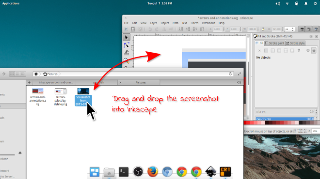 Drag and drop screenshot into Inkscape